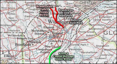 Brandywine Valley Scenic Byway area map