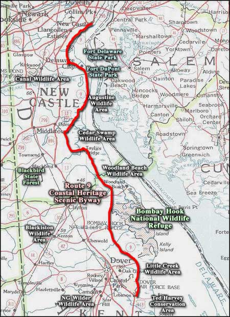 Route 9 Coastal Heritage Scenic Byway area map
