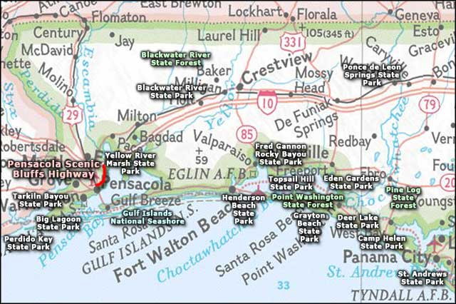 Florida West Panhandle Area Map