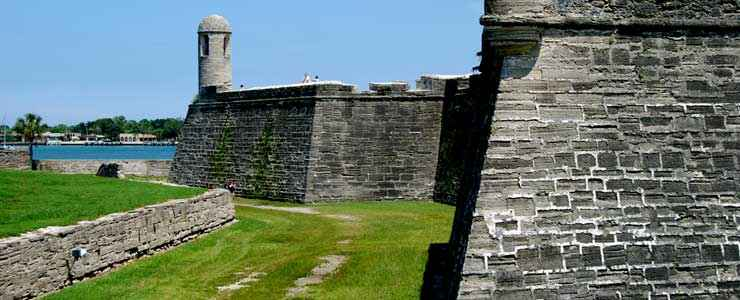 The north wall of Castillo de San Marcos