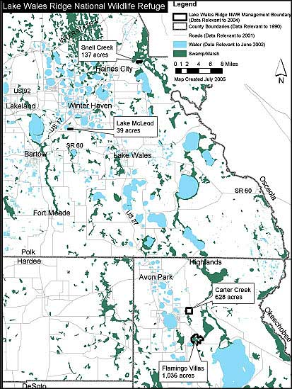 Map showing locations of the various units of Lake Wales Ridge National Wildlife Refuge