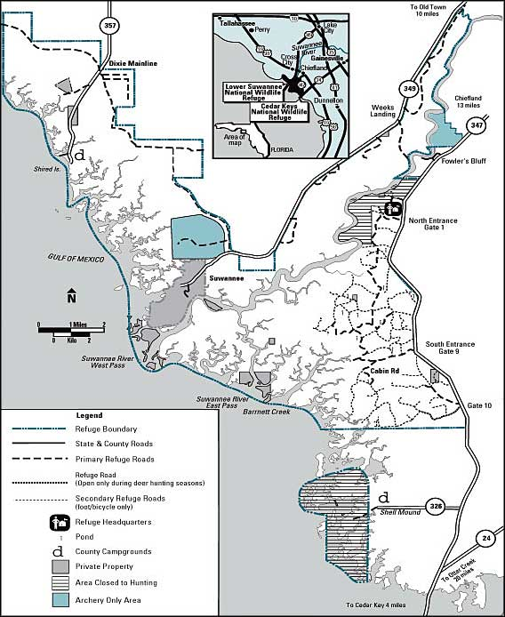 Map of Lower Suwannee National Wildlife Refuge