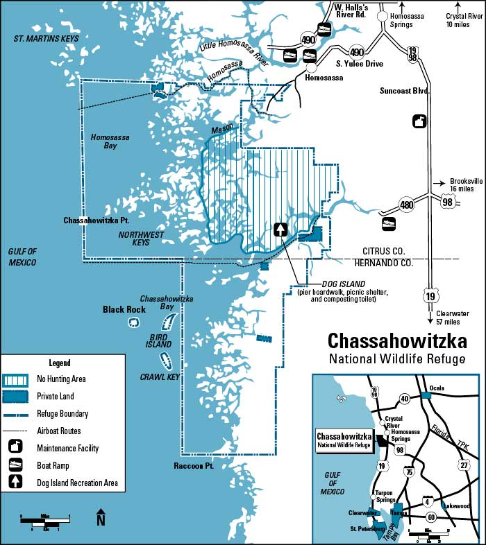 Map of Chassahowitzka National Wildlife Refuge