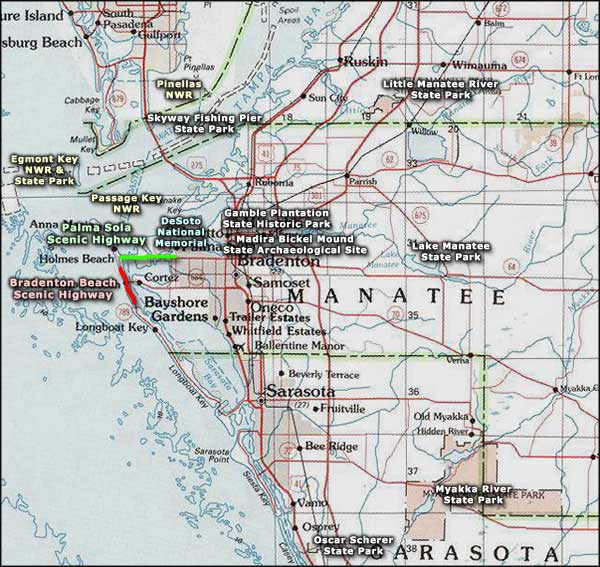 Manatee County area map