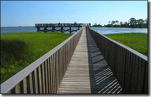 Boardwalk to the fishing pier at Shell Mound
