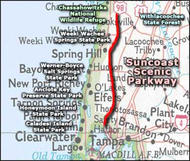 Map of the Suncoast Scenic Parkway