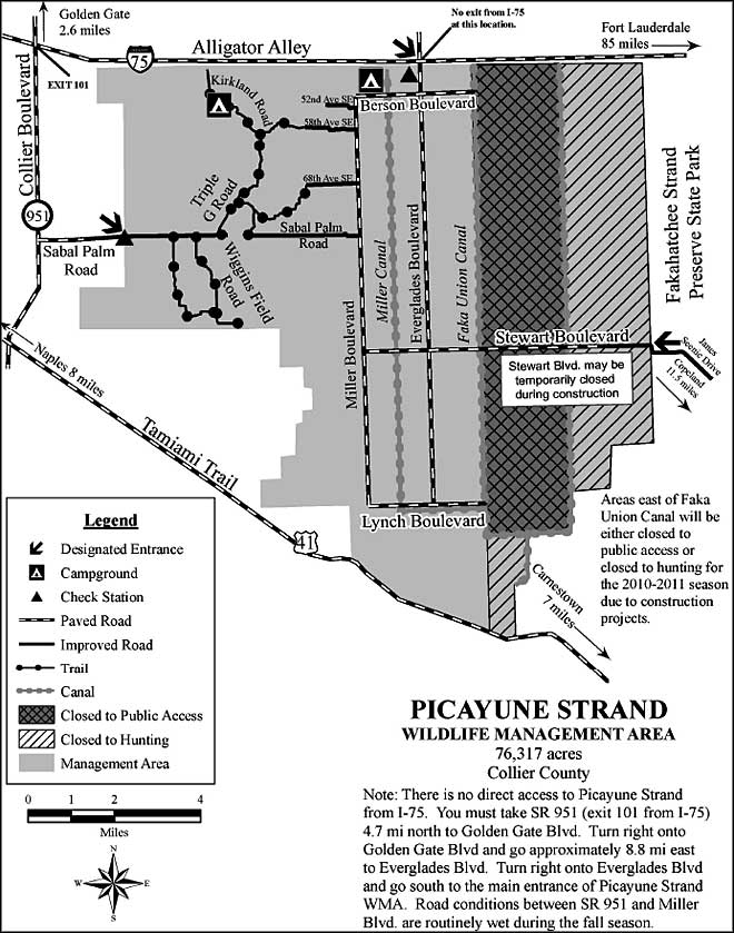 Map of Picayune Strand State Forest and Wildlife Management Area