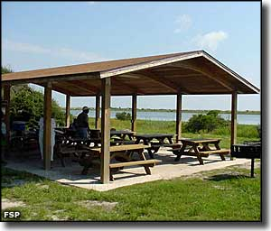 Covered picnic area at Anastasia State Park