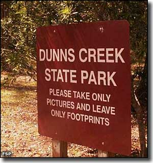 Entry sign at Dunns Creek State Park