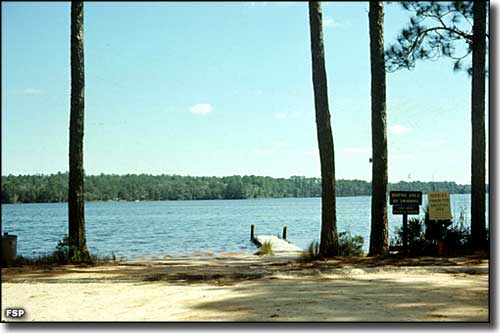 The boat ramp and dock at Fred Gannon Rocky Bayou State Park