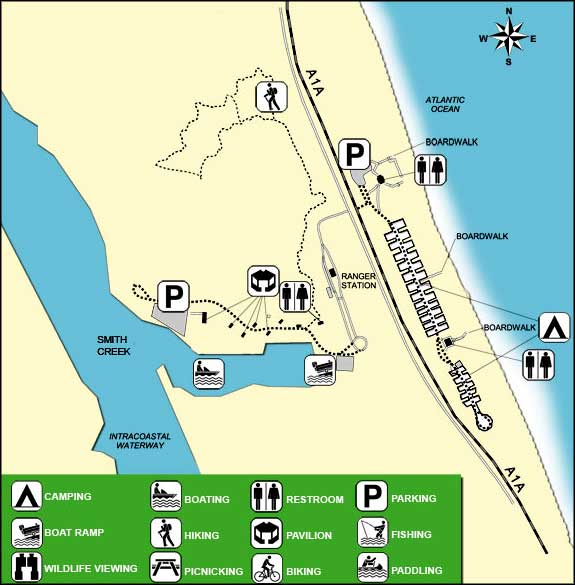 Map of Gamble Rogers Memorial State Recreation Area