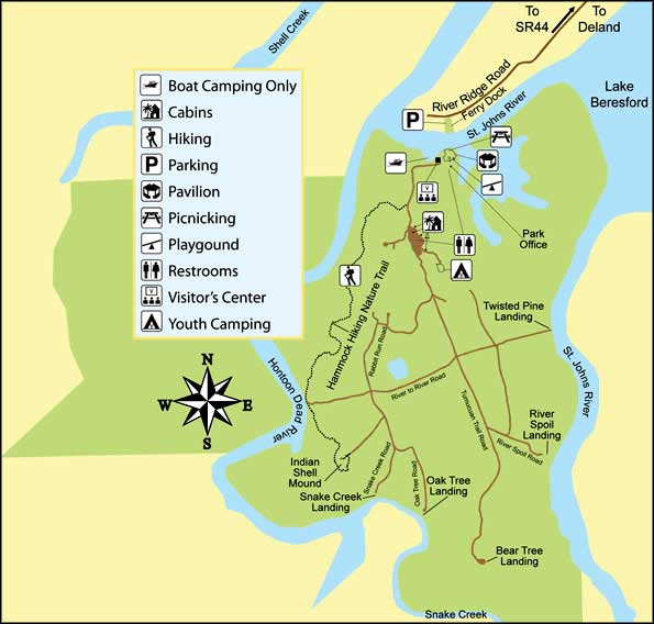 Hontoon Island Map