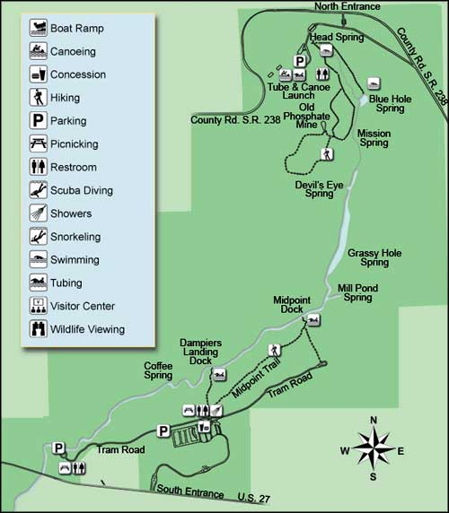 Map of Ichetucknee Springs State Park
