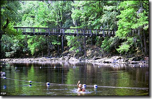 The swimming area at O'Leno State Park