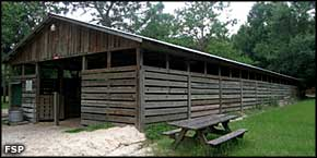 The horse barn at River Rise Preserve State Park