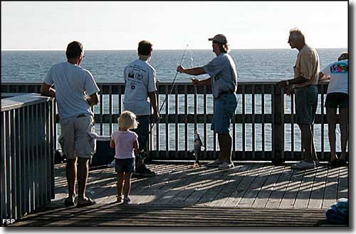 Fishermen on one of the piers at St. Andrews State Park