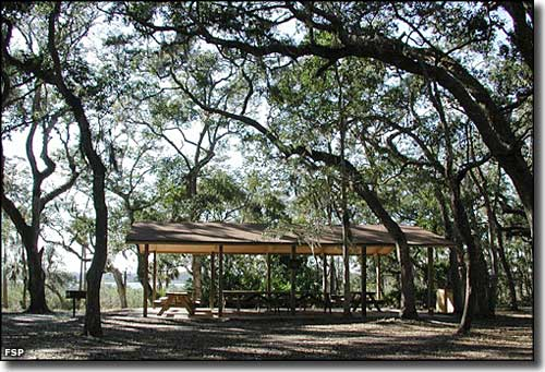 Picnic pavilion at Washington Oaks Gardens State Park
