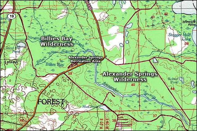 Map of the Alexander Springs Wilderness area