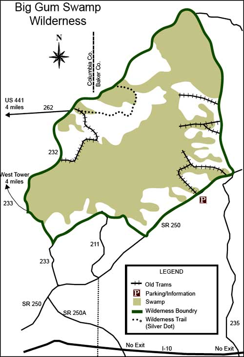 Big Gum Swamp Wilderness map