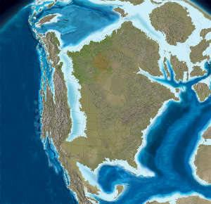 Map of North America 100 million years ago