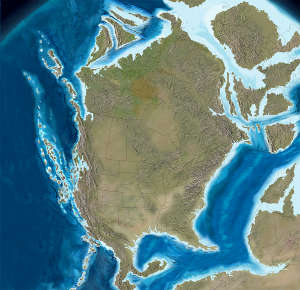 Map of North America 140 million years ago