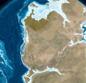 Map of North America about 210 million years ago