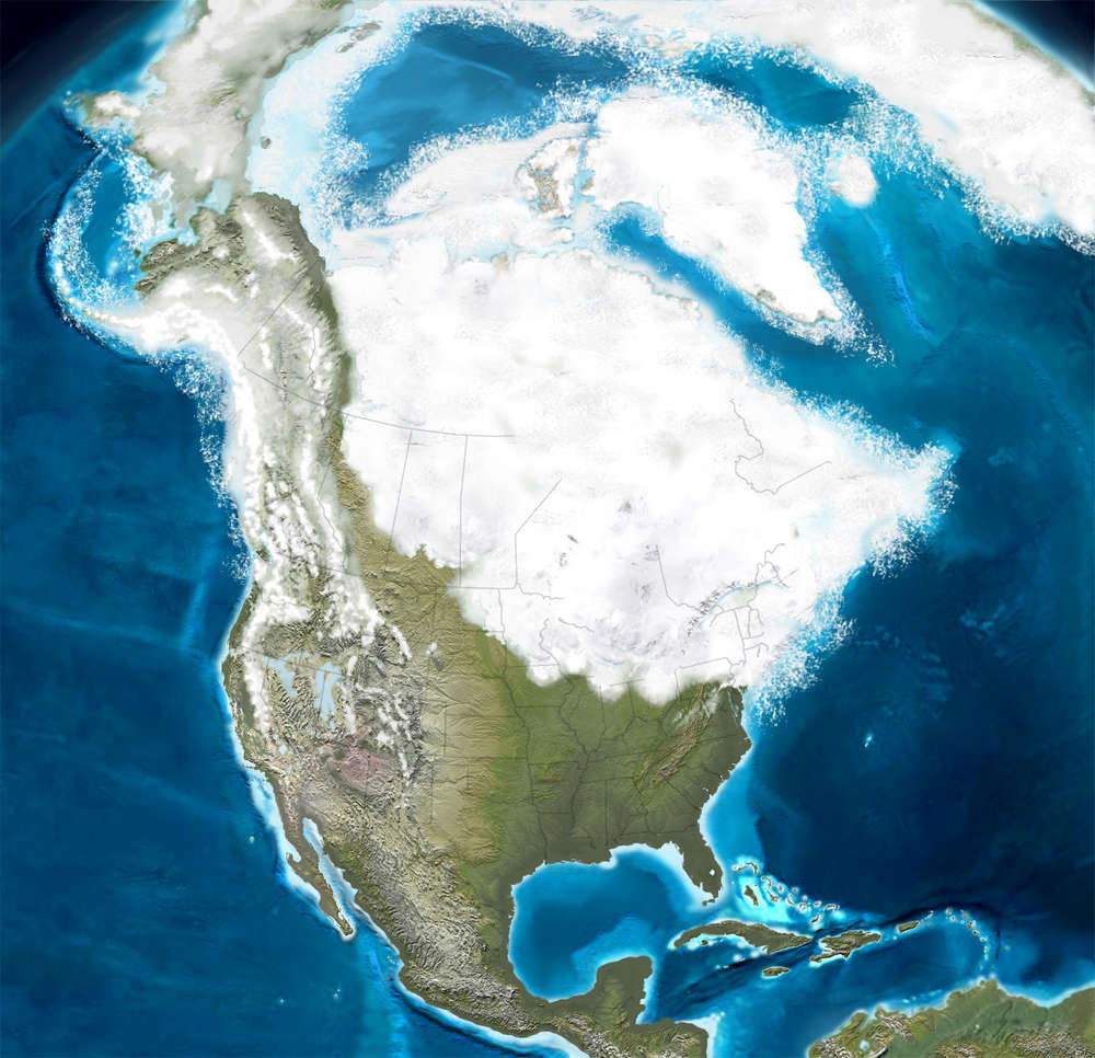 The cenozoic era the sights and sites of america map of north america during the ice ages sciox Choice Image