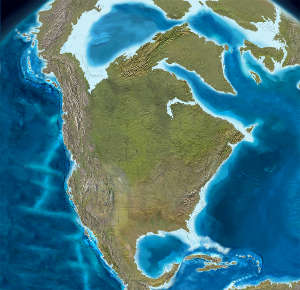 Map of North America 25 million years ago