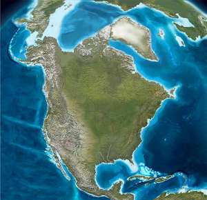 Map of North America 3 million years ago