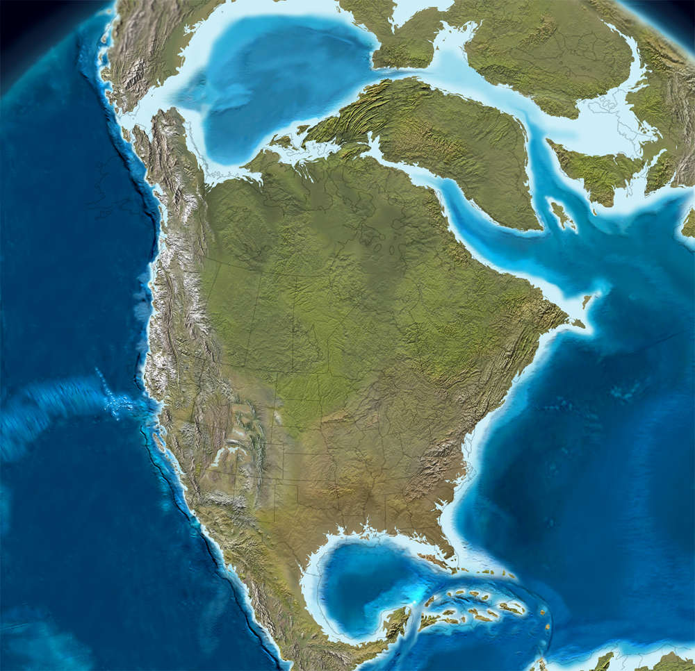 The paleogene period the sights and sites of america map of north america 60 million years ago sciox Choice Image