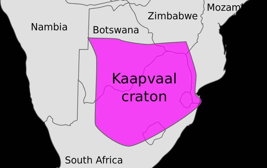 Map indicating today's location of the Kaapvaal craton in South Africa