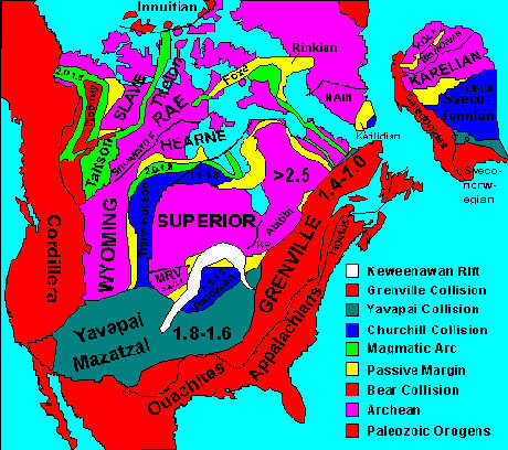 Map of the basement rock of North America