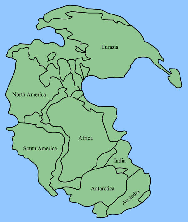 How today's continents fitted into the supercontinent of Pangaea