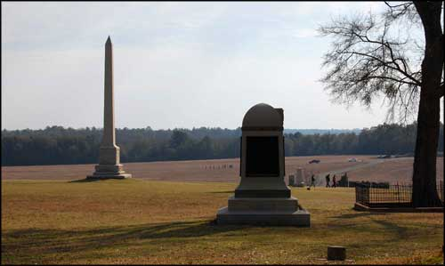 Some of the monuments erected at Andersonville National Historic Site