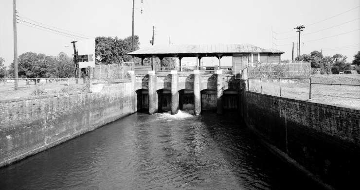 A historic lock on the Augusta Canal