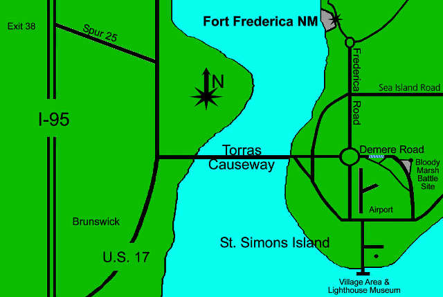 Map of the Fort Frederica area
