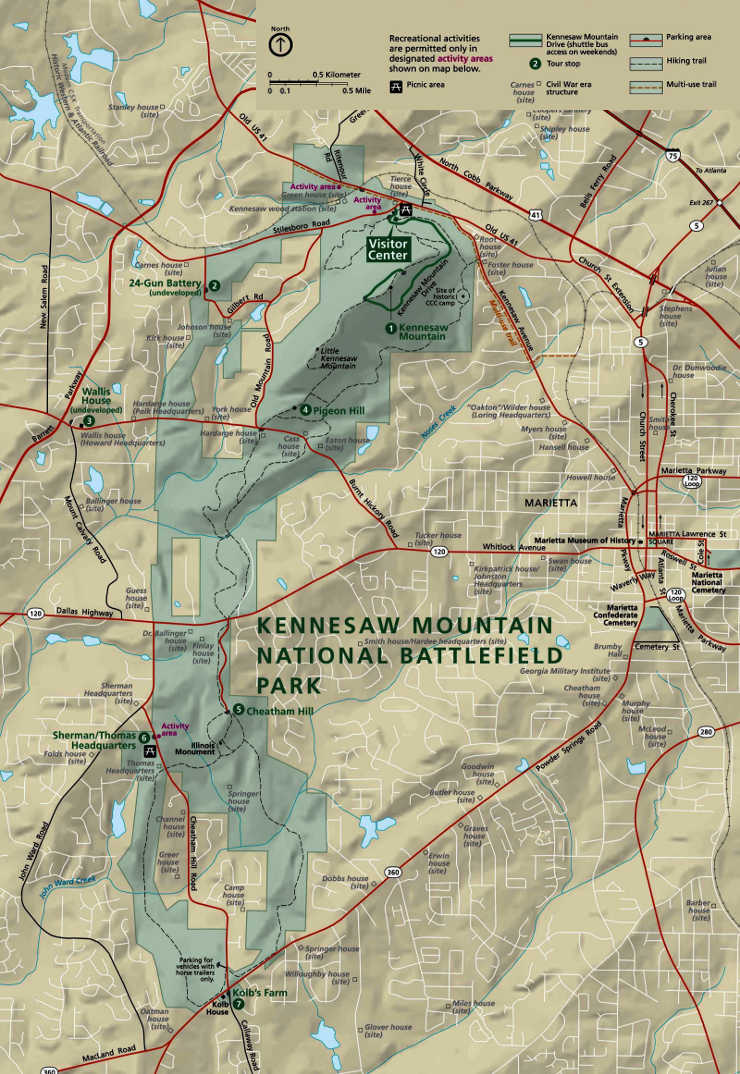 Map of Kennesaw Mountain National Battlefield Park