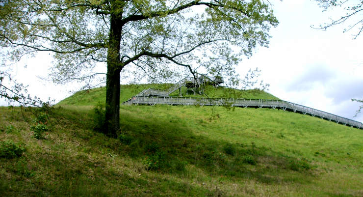 Another view of the large ceremonial mound at Ocmulgee National Monument