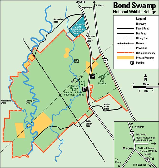 Map of Bond Swamp National Wildlife Refuge