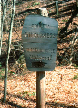 Sign marking the boundary of Cohutta Wilderness