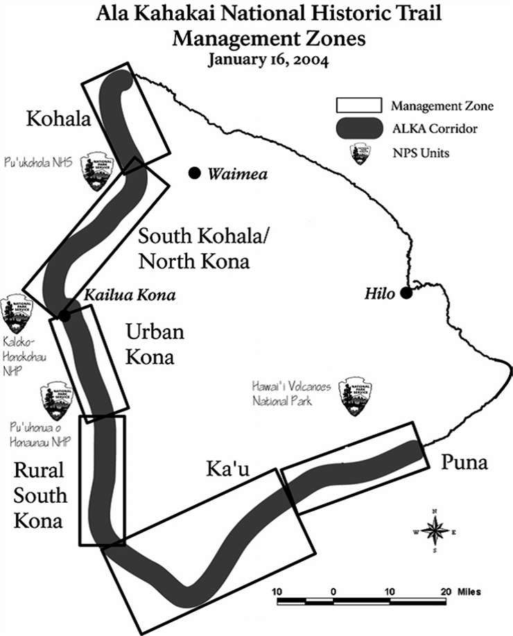 Map of the Ala Kahakai National Trail Districts