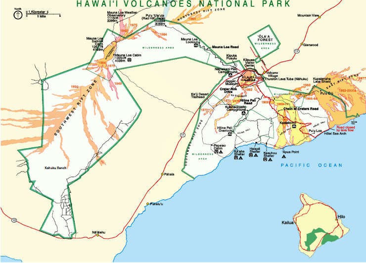 Map of Hawaii Volcanoes National Park