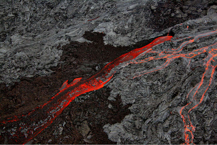 Pahoehoe and Aa lava flows at Hawaii Volcanoes National Park