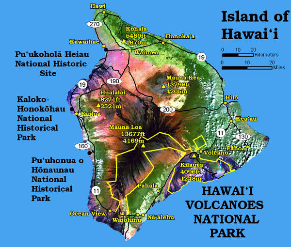 Colored map of Hawaii island
