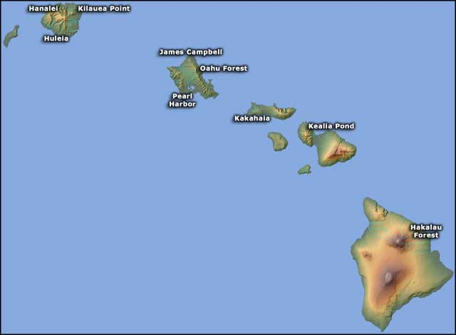 Map showing the locations of the National Wildlife Refuges in Hawaii