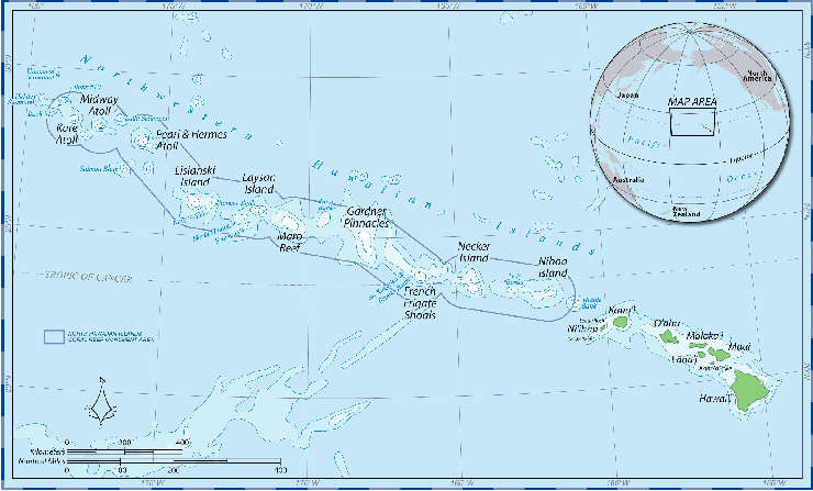 Map of Papahānaumokuākea Marine National Monument