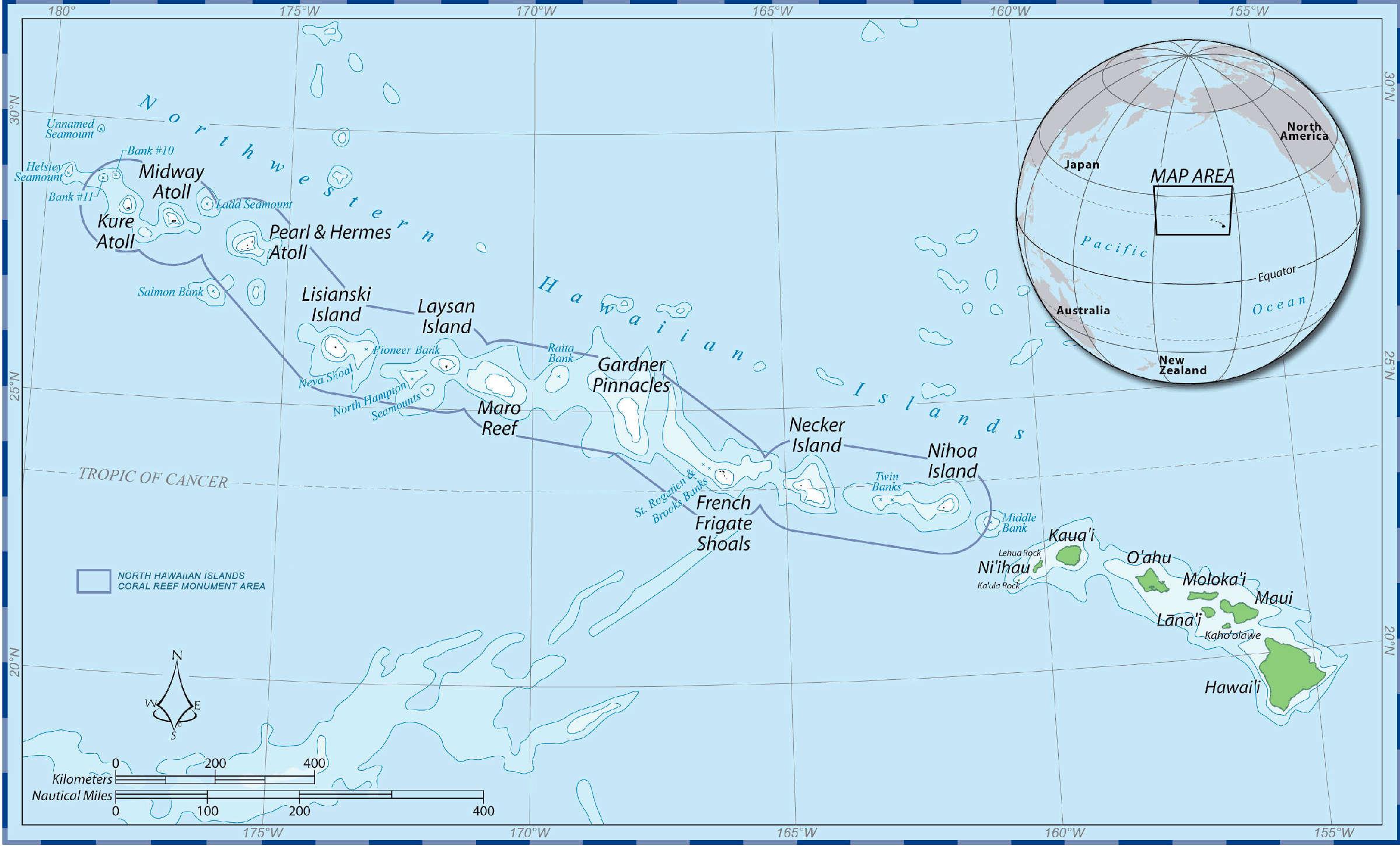 Hawaiian Islands National Wildlife Refuge Hawaii National - World map with latitude and longitude hawaii