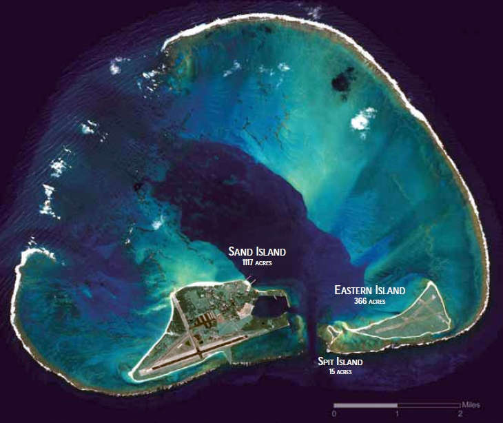 An aerial view of Midway Atoll