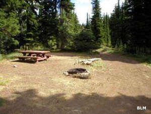 Crater Lake campsite next to Grandmother Mountain Wilderness Study Area