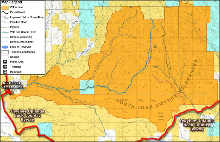 North Fork Owyhee Wilderness map